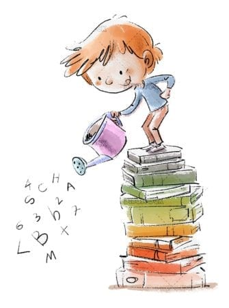 Boy with watering can on top of books