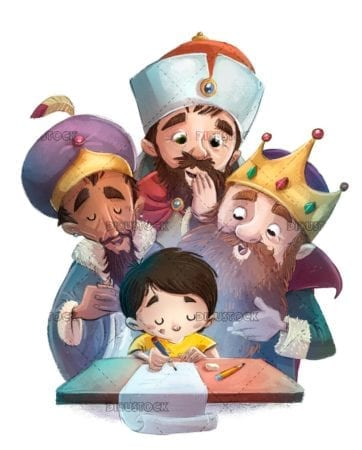 Boy writing a letter with magic kings behind isolated