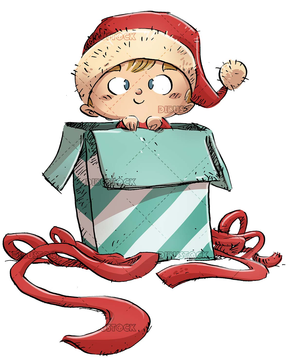 Child at Christmas coming out of a gift with isolated background