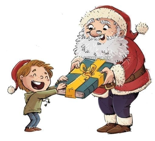 Child receives a gift book from Santa Claus