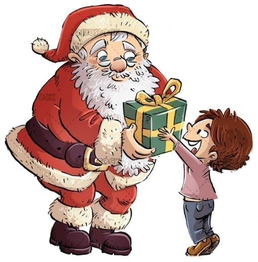 Child receives a gift from Santa Claus with isolated background