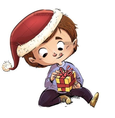 Child with Christmas hat trying to open a gift