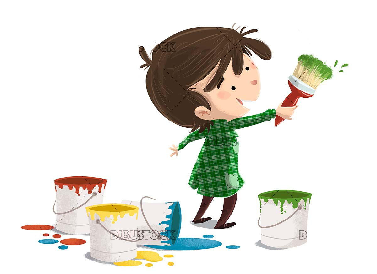Child with brush and colors painting isolated