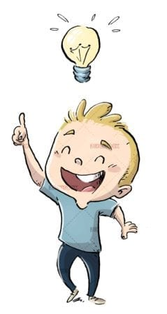 Child with idea and light bulb symbol isolated
