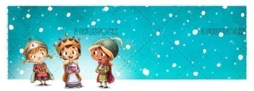 Children dressed as magic kings with gifts with snowing background