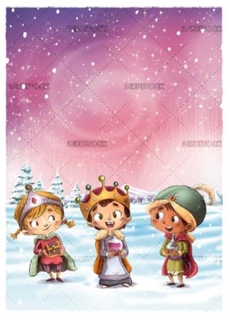 Children dressed as magic kings with gifts with snowy landscape