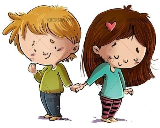 Children in love holding hands