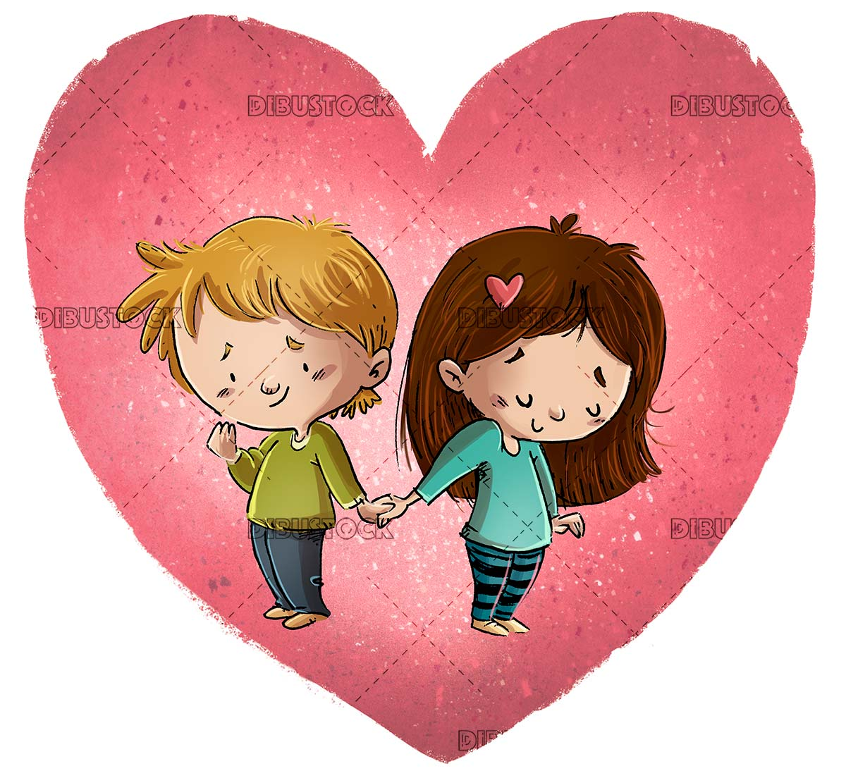 Children in love holding hands with giant heart in the background
