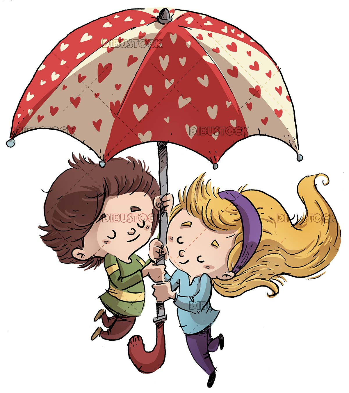 Children in love with flying hearts umbrella