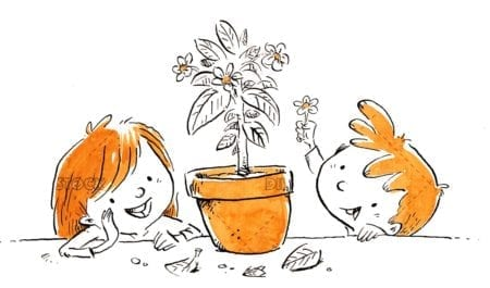 Children watching a pot with flowers isolated