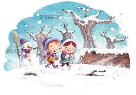 Children with winter clothes walking through the snow with snowman