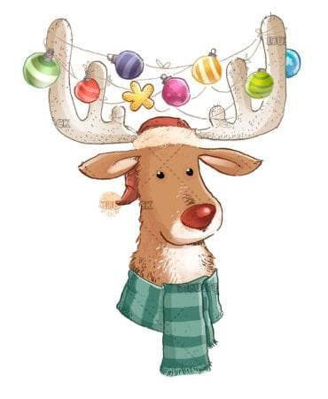 Christmas deer with ornaments on the horns
