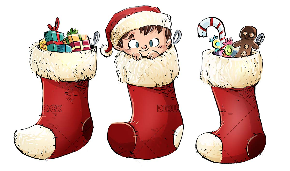 Christmas socks with gifts and hidden child