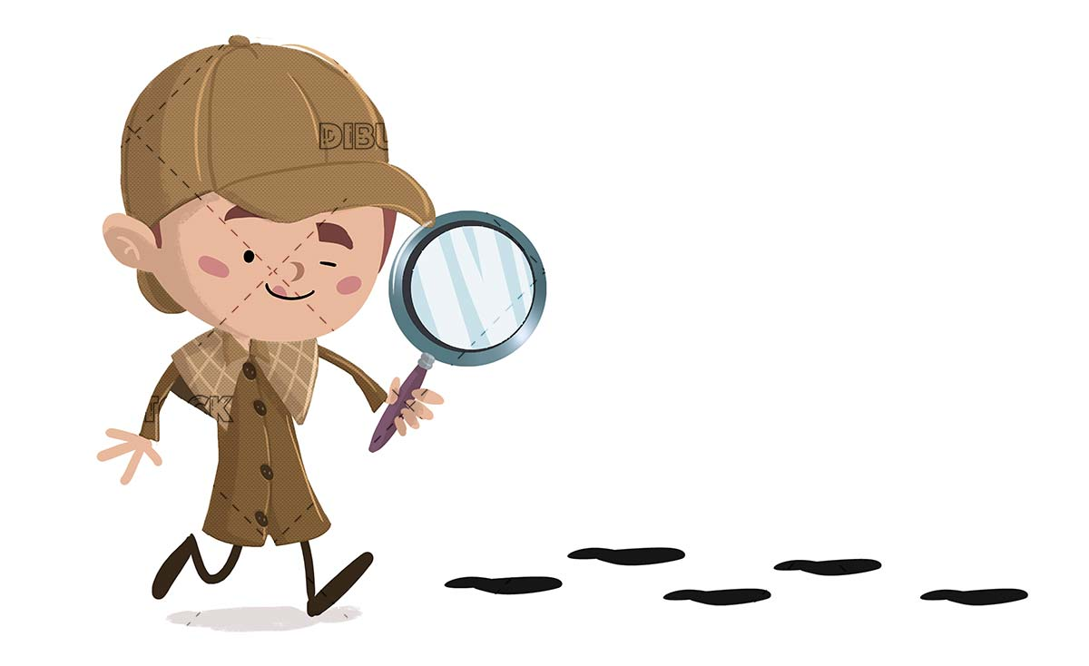 Detective boy with magnifying glass following some footprints