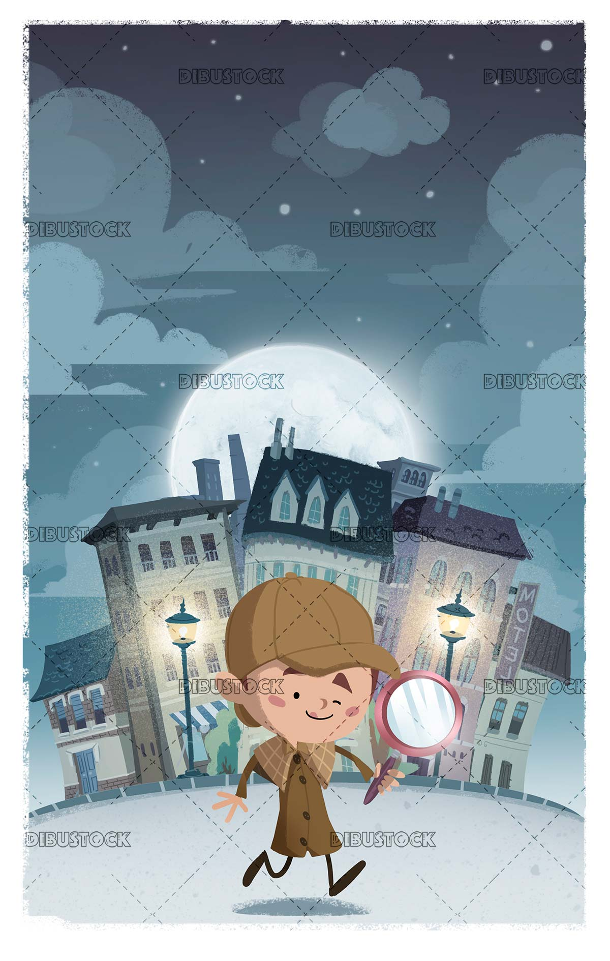 Detective boy with magnifying glass investigating the city at night