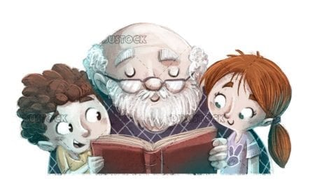 Elderly grandfather reading a book with his grandchildren isolated