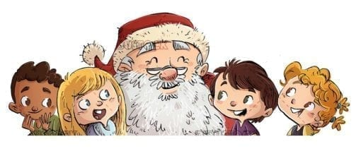 Faces of Santa Claus and children of different ethnicities with isolated background