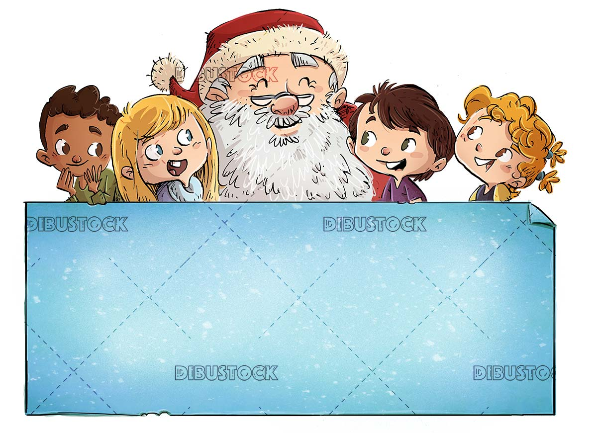 Faces of Santa Claus and children of different ethnicities with poster