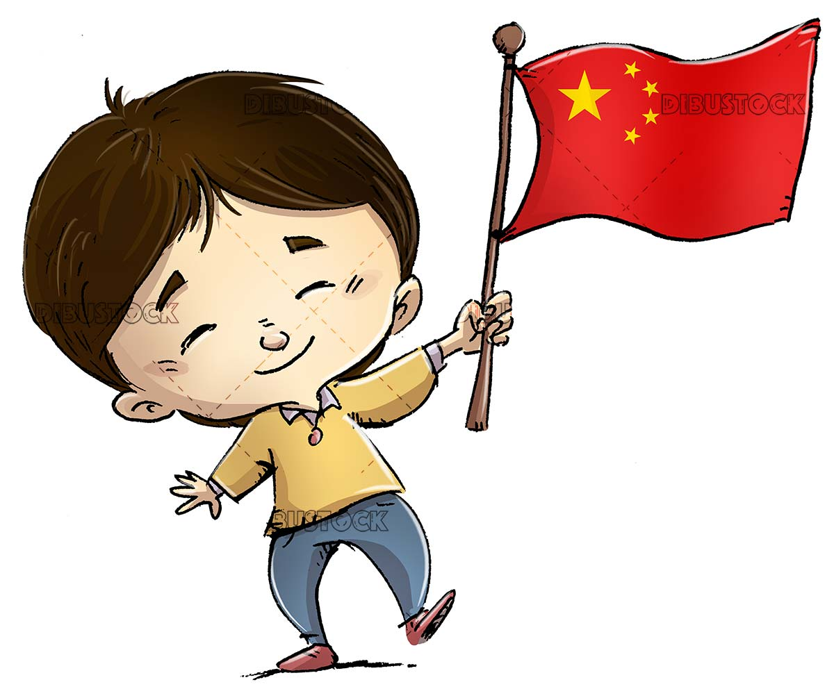 Funny boy with the flag of China