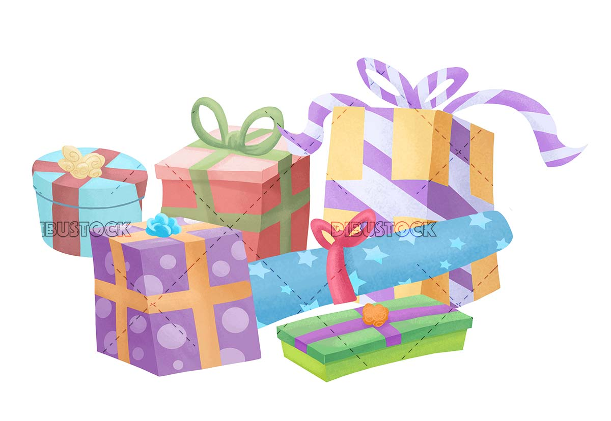 Gifts of different colors and sizes