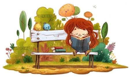 Girl sitting on a park bench reading with birds