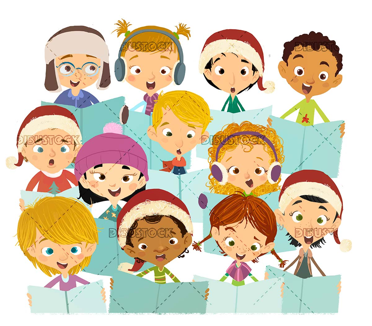 Group of happy children sung in choir at Christmas