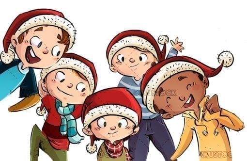 Group of happy children with their Christmas hats isolated