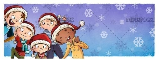 Group of happy children with their Christmas hats with Christmas background