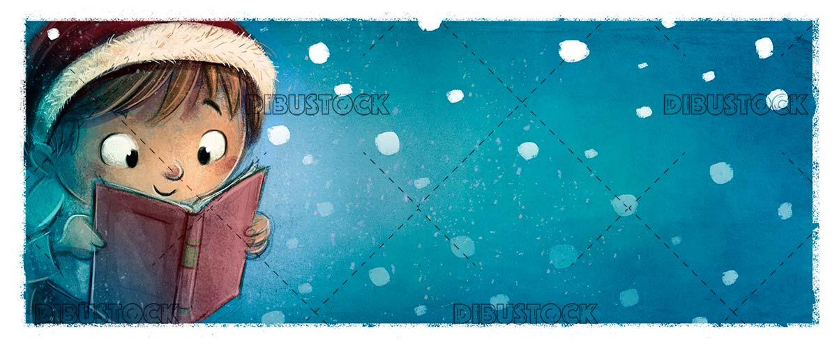 Happy boy face reading a book with Christmas hat and snowing background