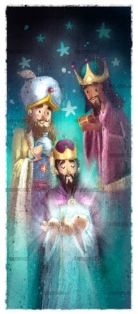 Letter with the three magic kings and the child Jesus in his arms with magic background