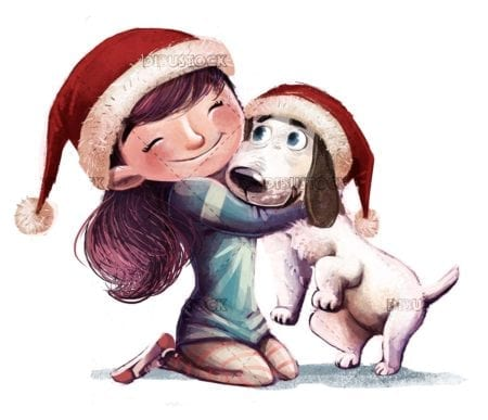 Little girl hugging her dog at Christmas isolated