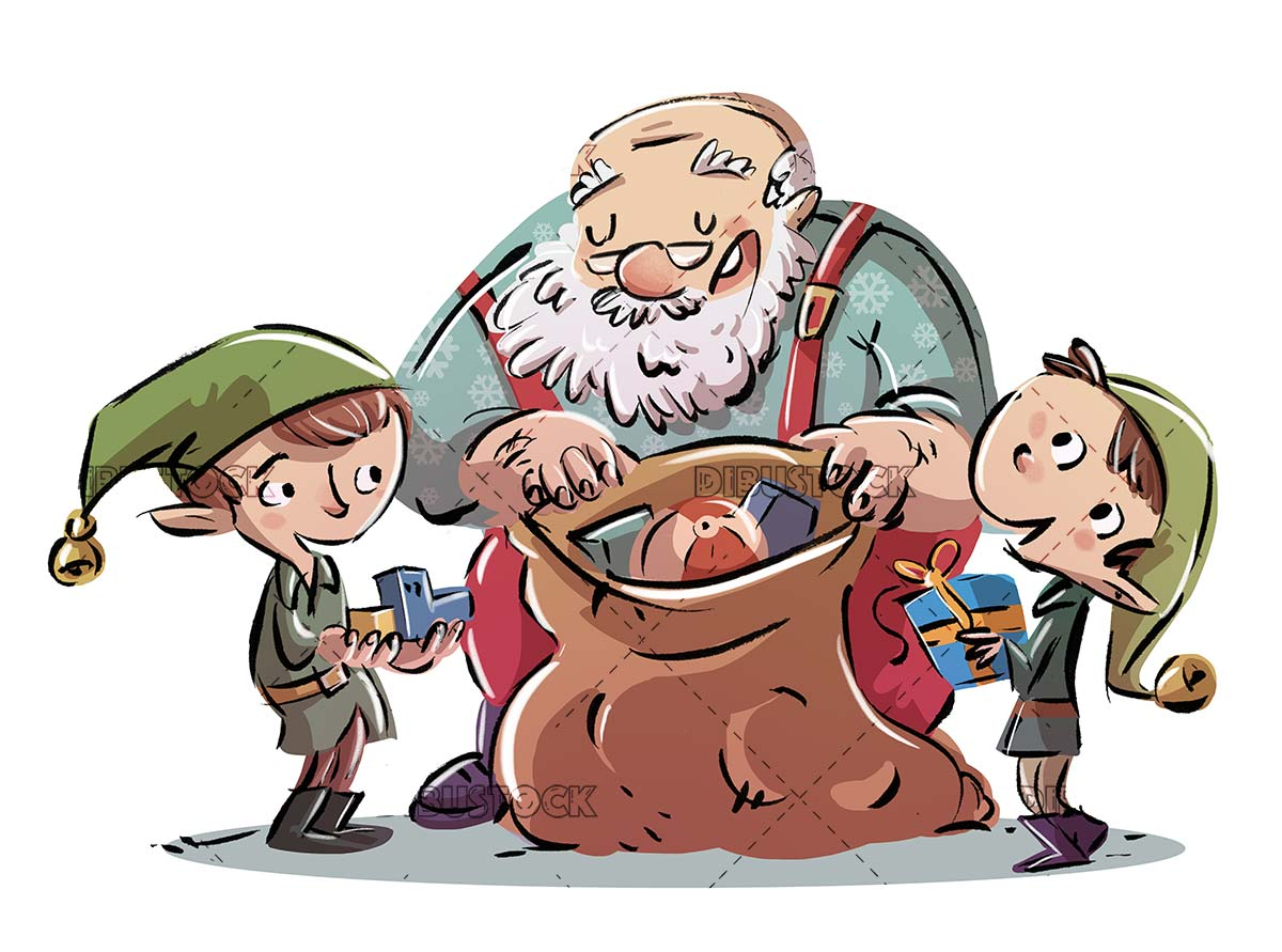 Santa Claus and elves stuffing presents in a sack
