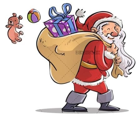 Santa Claus carrying a sack full of toys and gifts with isolated background