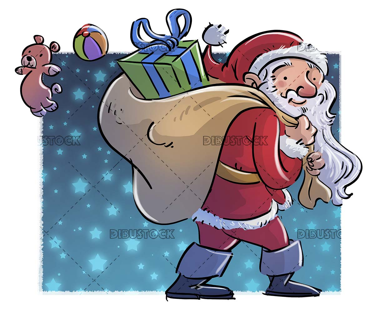 Santa Claus with a sack full of gifts with stars background