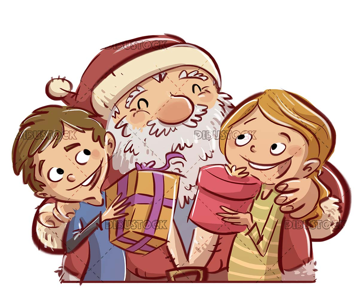 Santa Claus with happy children with gifts in their hands