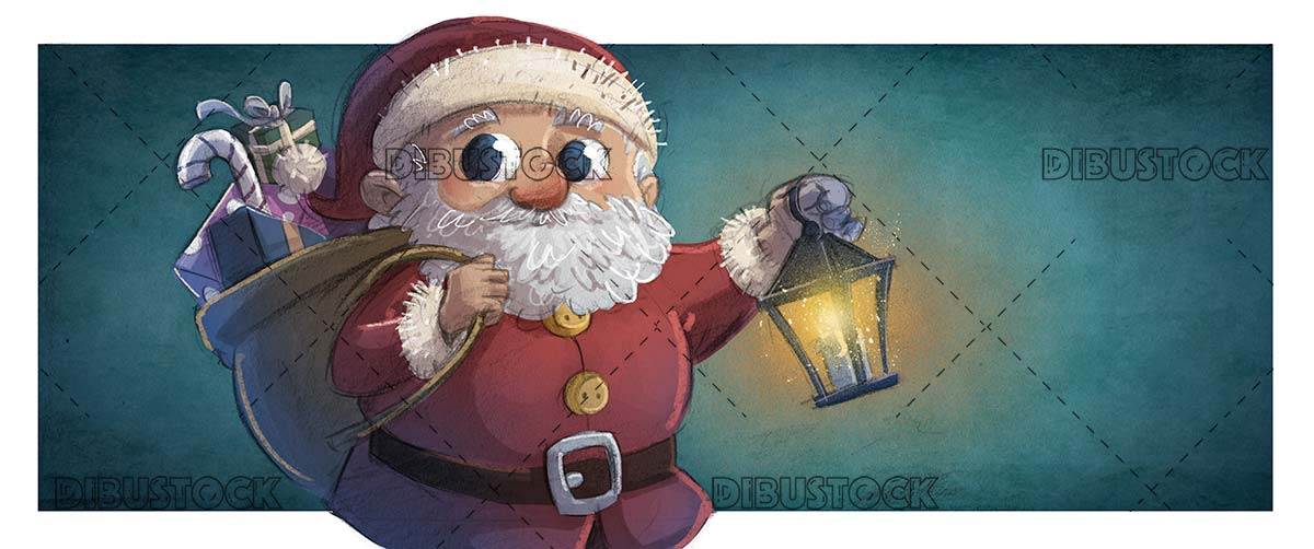 Santa Claus with lamppost in hand and texture background
