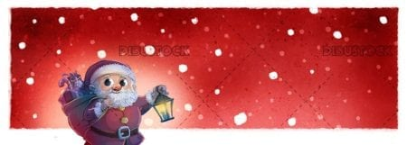 Santa Claus with lamppost in his hand and red background and snowing