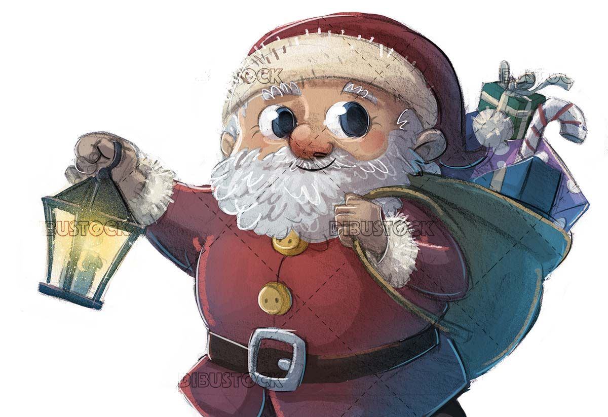 Santa Claus with lantern in hands with isolated background