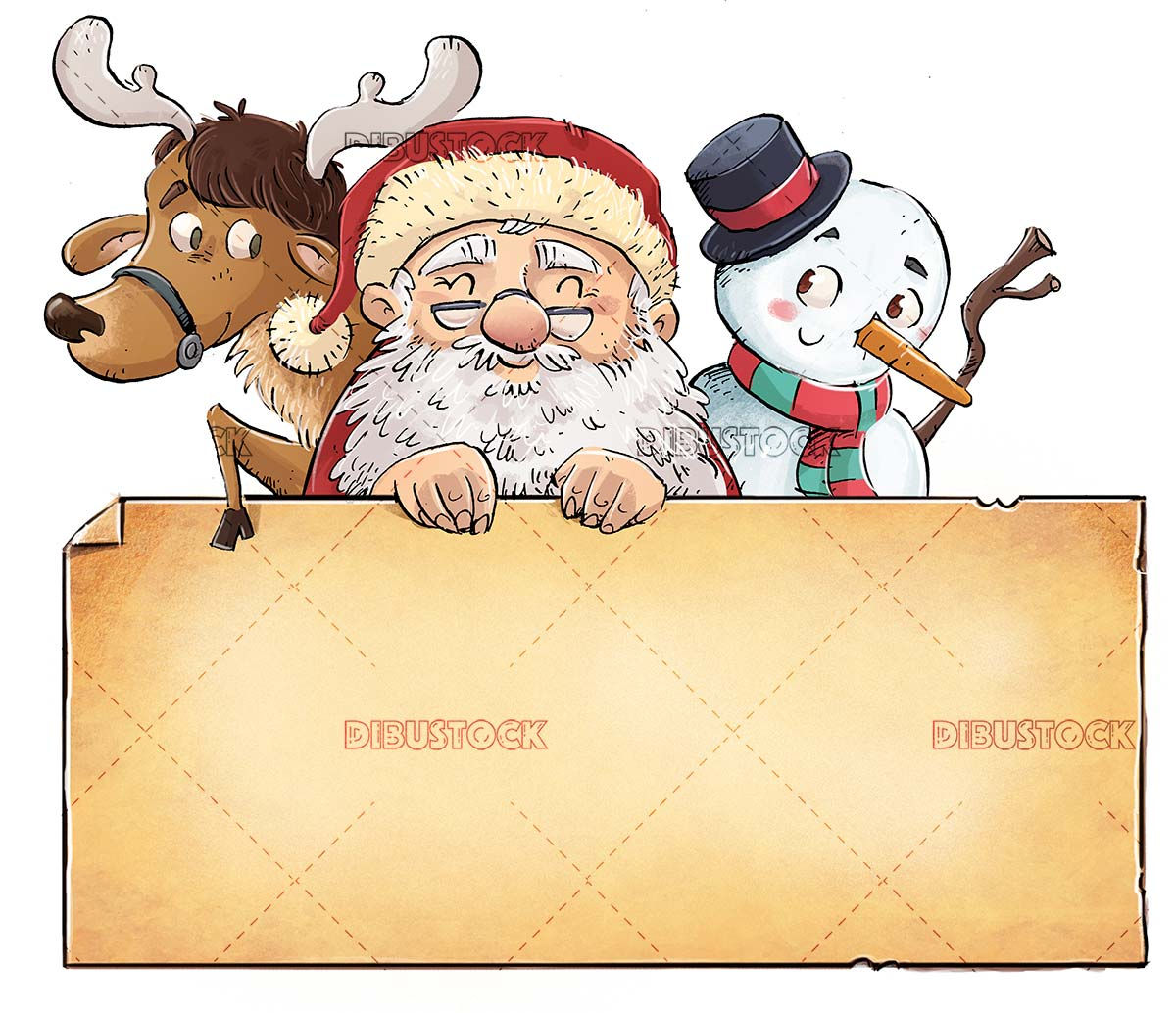 Santa Claus with reindeer and snowman holding sign