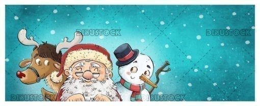 Santa Claus with reindeer and snowman snowing at Christmas