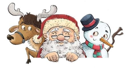 Santa Claus with reindeer and snowman with isolated background