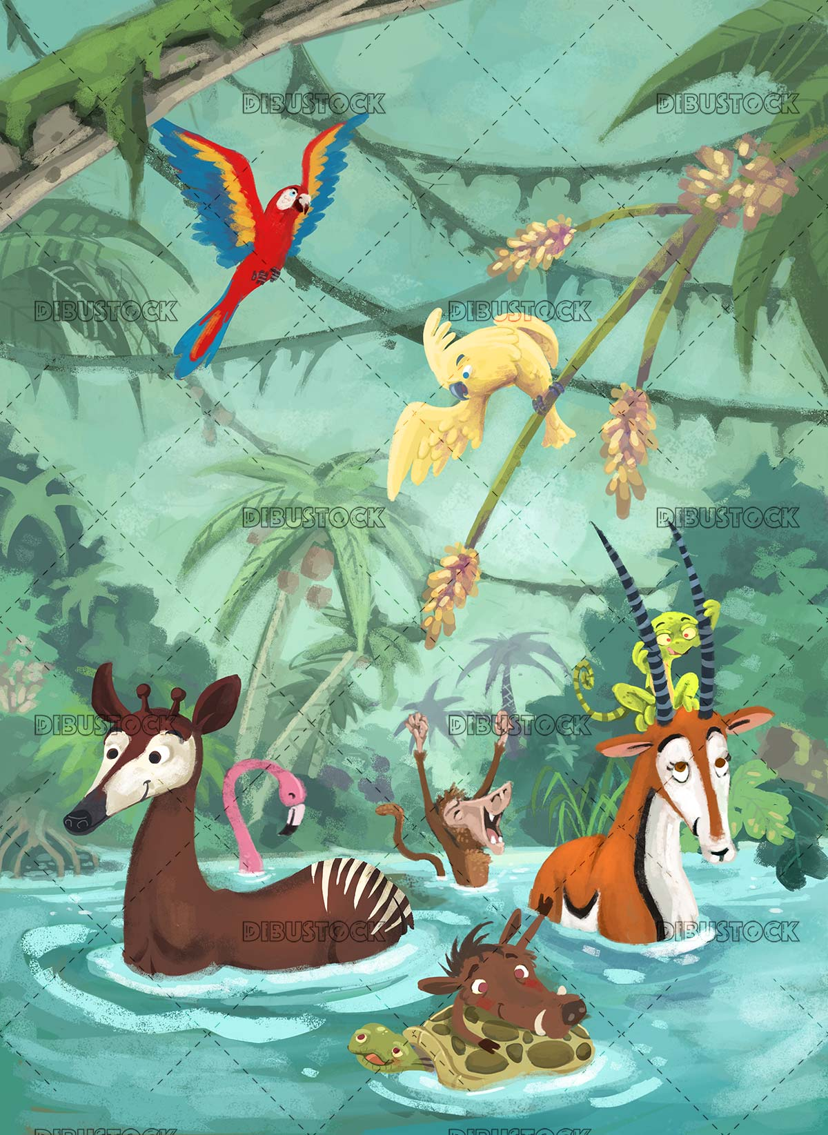 animals falling into the jungle water