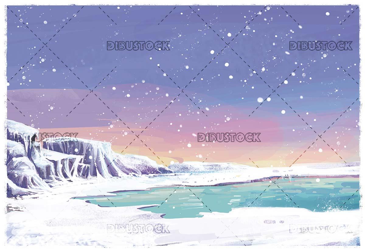 arctic snowy landscape illustration