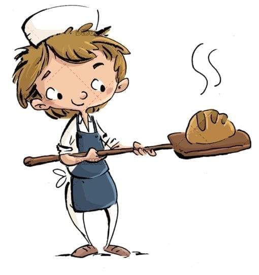 baker boy taking bread out of the oven