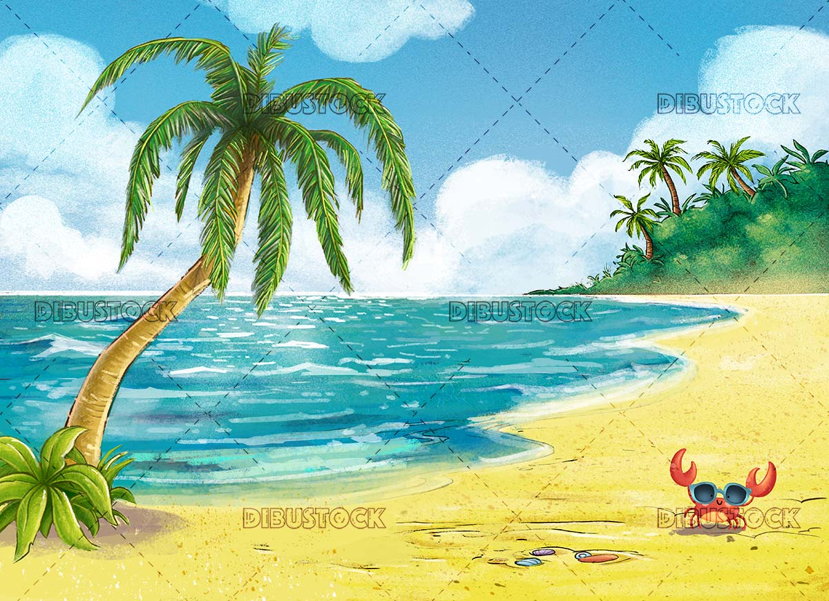 beach with palm trees and crab with sunglasses