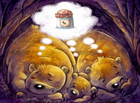 bears dreaming of honey while they hibernate
