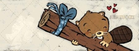 beaver hugging a trunk with love