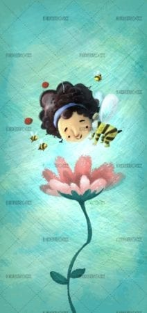 bee girl flying around a flower