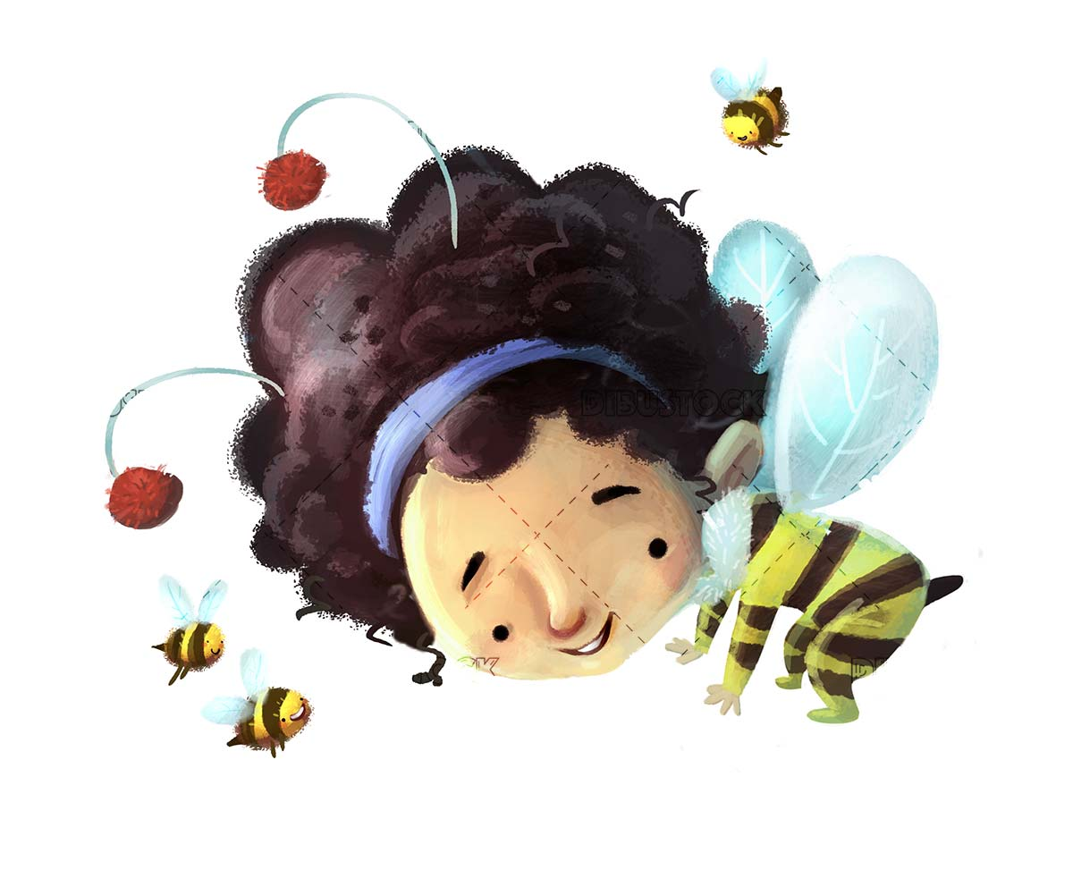 bee girl flying with bees