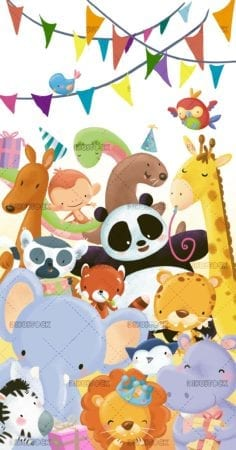 birthday greeting with animals